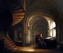 Philosophe au livre ouvert Rembrandt