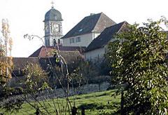 Le clocher de l'Église de Brangues vu du Château